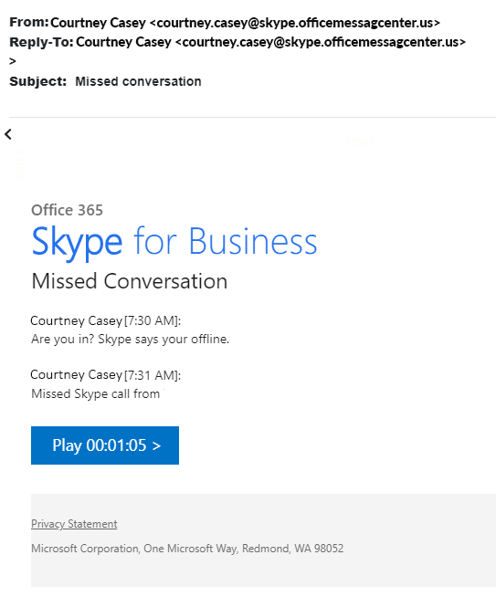 KnowBe4 Email Campaign Example - Skype